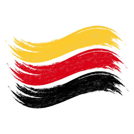 Grunge Brush Stroke With National Flag Of Germany Isolated On A White Background. Vector Illustration. Flag In Grungy Style. Use For Brochures, Printed Materials, Logos, Independence Day