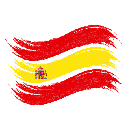 Grunge Brush Stroke With National Flag Of Spain Isolated On A White Background. Vector Illustration. Flag In Grungy Style. Use For Brochures, Printed Materials, Logos, Independence Day