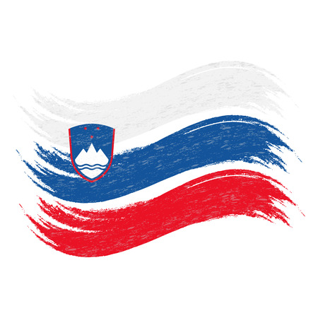 Grunge Brush Stroke With National Flag Of Slovenia Isolated On A White Background. Vector Illustration. Flag In Grungy Style. Use For Brochures, Printed Materials, Logos, Independence Day Reklamní fotografie