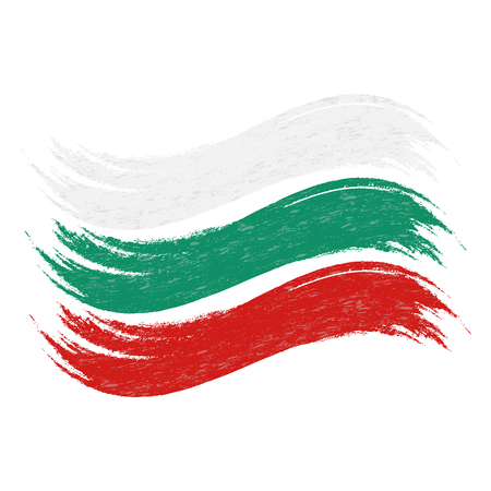 Grunge Brush Stroke With National Flag Of Bulgaria Isolated On A White Background. Vector Illustration. Flag In Grungy Style. Use For Brochures, Printed Materials, Logos, Independence Day Imagens