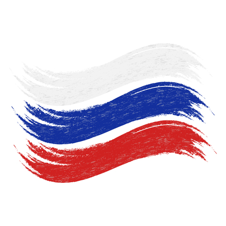 Grunge Brush Stroke With National Flag Of Russia Isolated On A White Background. Vector Illustration. Flag In Grungy Style. Use For Brochures, Printed Materials, Logos, Independence Day Illustration