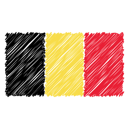 Hand Drawn National Flag Of Belgium Isolated On A White Background. Vector Sketch Style Illustration. Unique Pattern Design For Brochures, Printed Materials, Logos, Independence Day Illustration