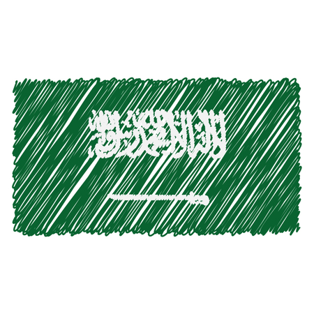 Hand Drawn National Flag Of Saudi Arabia Isolated On A White Background. Vector Sketch Style Illustration. Unique Pattern Design For Brochures, Printed Materials, Logos, Independence Day Ilustracja