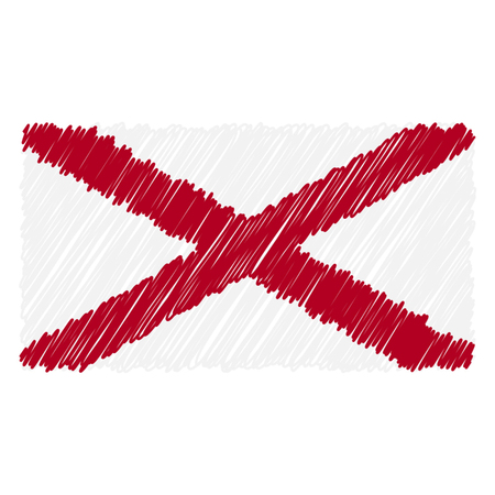 Hand Drawn National Flag Of Alabama Isolated On A White Background. Vector Sketch Style Illustration. Unique Pattern Design For Brochures, Printed Materials, Logos, Independence Day