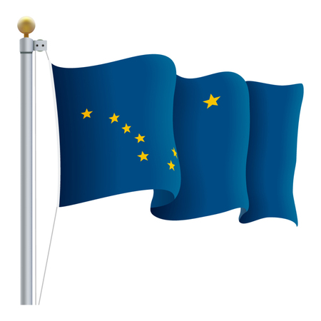 Waving Alaska Flag Isolated On A White Background. Vector Illustration. Official Colors And Proportion. Independence Day