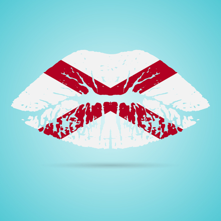 Alabama Flag Lipstick On The Lips Isolated On A White Background. Vector Illustration. Kiss Mark In Official Colors And Proportions. Independence Day Illustration