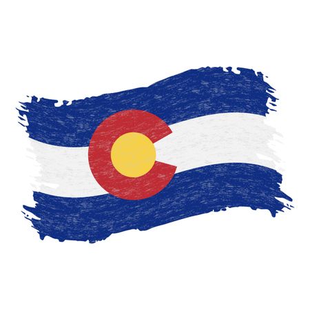Flag of Colorado. Grunge Abstract Brush Stroke Isolated On A White Background. Vector Illustration. National Flag In Grungy Style. Use For Brochures, Printed Materials, Logos, Independence Day Ilustrace