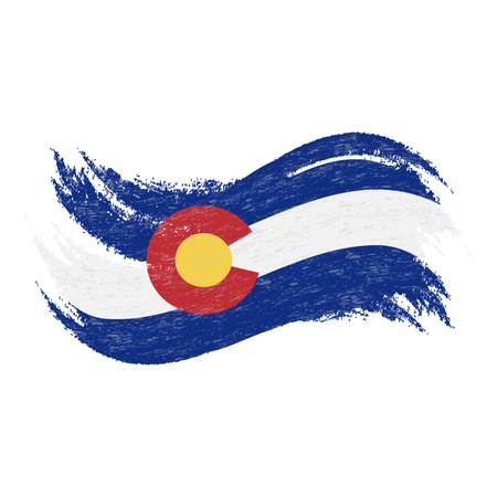 National Flag Of Colorado, Designed Using Brush Strokes Isolated On A White Background. Vector Illustration. Use For Brochures, Printed Materials, Logos, Independence Day.