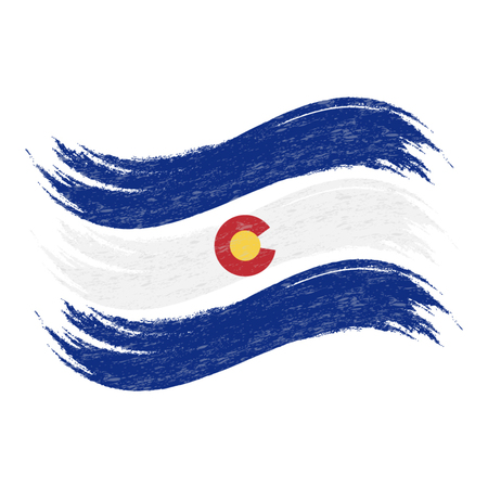 Grunge Brush Stroke With National Flag Of Colorado Isolated On A White Background. Vector Illustration. Flag In Grungy Style. Use For Brochures, Printed Materials, Logos, Independence Day