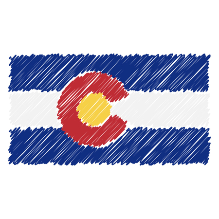 Hand Drawn National Flag Of Colorado Isolated On A White Background. Vector Sketch Style Illustration. Unique Pattern Design For Brochures, Printed Materials, Logos, Independence Day Ilustração