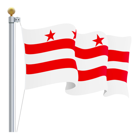 Waving Columbia Flag Isolated On A White Background. Vector Illustration. Official Colors And Proportion. Independence Day  イラスト・ベクター素材