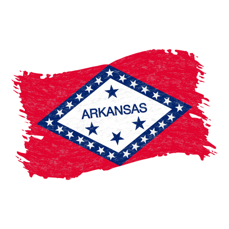 Flag of Arkansas. Grunge Abstract Brush Stroke Isolated On A White Background. Vector Illustration. National Flag In Grungy Style. Use For Brochures, Printed Materials, Logos, Independence Day