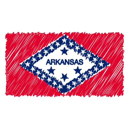 Hand Drawn National Flag Of Arkansas Isolated On A White Background. Vector Sketch Style Illustration. Unique Pattern Design For Brochures, Printed Materials, Logos, Independence Day