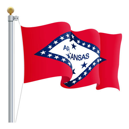 Waving Arkansas Flag Isolated On A White Background. Vector Illustration. Official Colors And Proportion. Independence Day