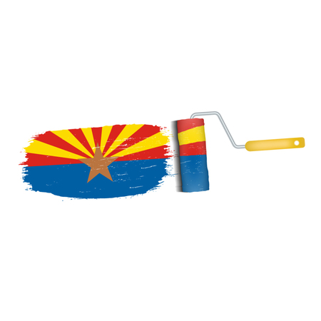 Brush Stroke With Arizona National Flag Isolated On A White Background. Vector Illustration. National Flag In Grungy Style. Brushstroke. Use For Brochures, Printed Materials, Logos, Independence Day