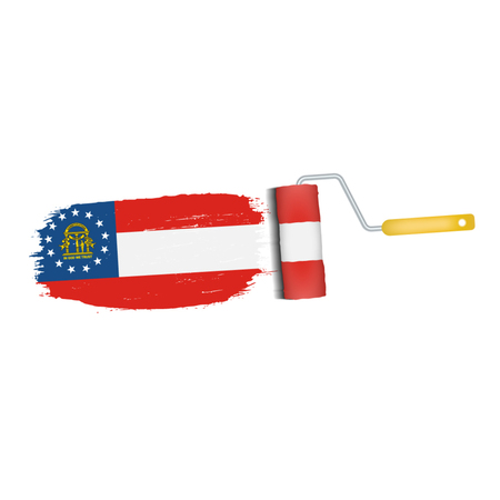 Brush Stroke With Georgia National Flag Isolated On A White Background. Vector Illustration. National Flag In Grungy Style. Brushstroke. Use For Brochures, Printed Materials, Logos, Independence Day Illustration
