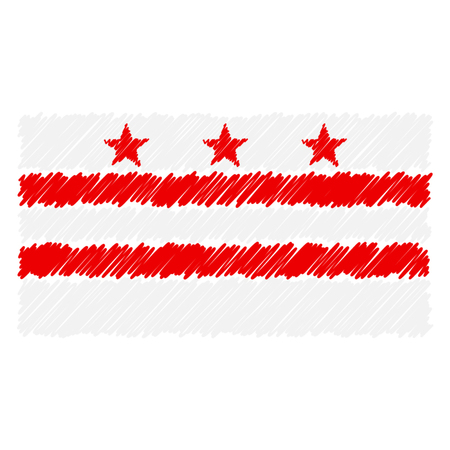 Hand Drawn National Flag Of Columbia Isolated On A White Background. Vector Sketch Style Illustration. Unique Pattern Design For Brochures, Printed Materials, Logos, Independence Day