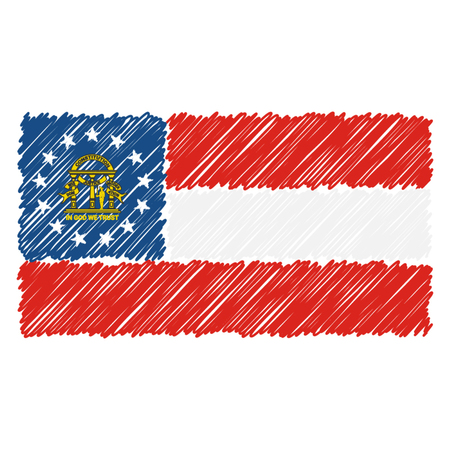 Hand Drawn National Flag Of Georgia Isolated On A White Background. Vector Sketch Style Illustration. Unique Pattern Design For Brochures, Printed Materials, Logos, Independence Day