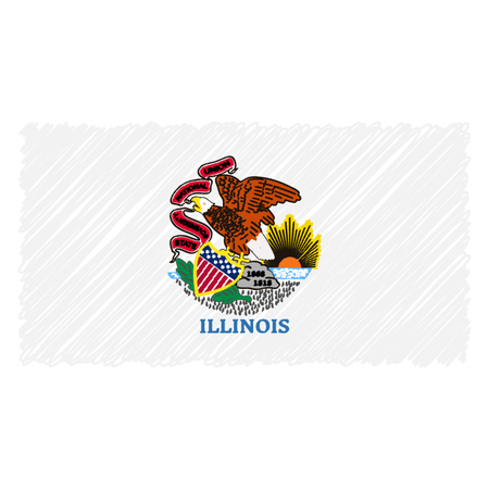 Hand Drawn National Flag Of Illinois Isolated On A White Background. Vector Sketch Style Illustration. Unique Pattern Design For Brochures, Printed Materials, Logos, Independence Day