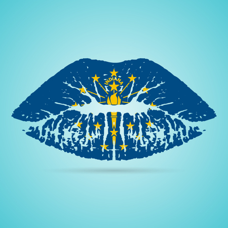 Indiana Flag Lipstick On The Lips Isolated On A White Background. Vector Illustration. Kiss Mark In Official Colors And Proportions. Independence Day