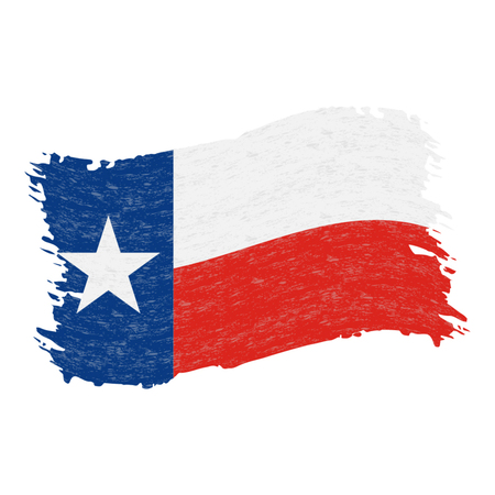 Flag of Texas. Grunge Abstract Brush Stroke Isolated On A White Background. Vector Illustration. National Flag In Grungy Style. Use For Brochures, Printed Materials, Logos, Independence Day
