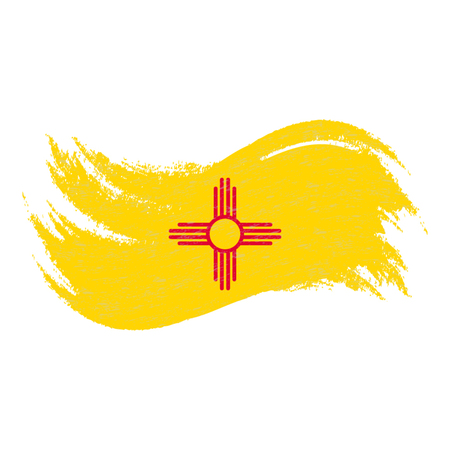 National Flag Of New Mexico, Designed Using Brush Strokes Isolated On A White Background. Vector Illustration. Use For Brochures, Printed Materials, Logos, Independence Day.
