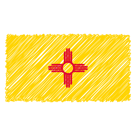 Hand Drawn National Flag Of New Mexico Isolated On A White Background. Vector Sketch Style Illustration. Unique Pattern Design For Brochures, Printed Materials, Logos, Independence Day