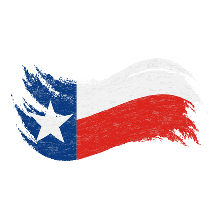 National Flag Of Texas, Designed Using Brush Strokes Isolated On A White Background. Vector Illustration. Use For Brochures, Printed Materials, Logos, Independence Day.