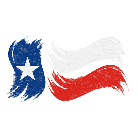 Grunge Brush Stroke With National Flag Of Texas Isolated On A White Background. Vector Illustration. Flag In Grungy Style. Use For Brochures, Printed Materials, Logos, Independence Day