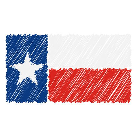 Hand Drawn National Flag Of Texas Isolated On A White Background. Vector Sketch Style Illustration. Unique Pattern Design For Brochures, Printed Materials, Logos, Independence Day