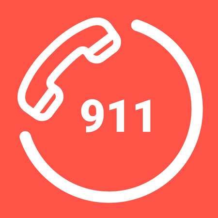 911 Emergency Call Number Isolated On A White Background. Vector Icon Illustration. Unique Pattern Design For Brochures, Web, Printed Materials, Logos Vectores