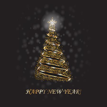 Gold Christmas Tree As Symbol Of Happy New Year, Merry Christmas Holiday Celebration. Golden Light Decoration. Bright Shiny Design Vector Illustration