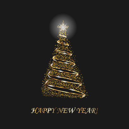 Christmas Tree 3d For Card. Black Background. Christmas Tree As Symbol Of Happy New Year, Merry Christmas Holiday Celebration. Sparkle Decoration. Bright Star Vector Illustration  イラスト・ベクター素材
