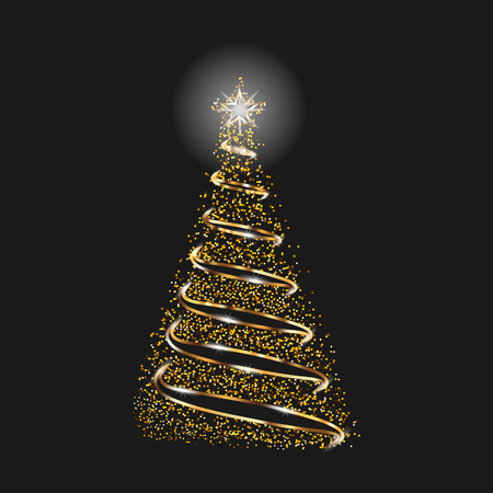 Christmas Tree As Symbol Of Happy New Year, Merry Christmas Holiday Celebration. Gold Glitter Effect.  イラスト・ベクター素材