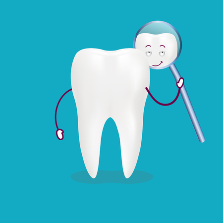 Cute Cartoon Tooth With Inspection Mirror Isolated On A Background. Vector Illustration. Healthcare Concept.