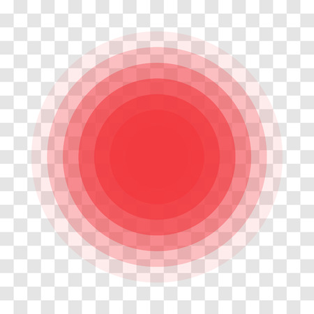 Pain Red Circle Icon For Inflammatory Ache Point. Vector Symbol For Muscular Pain Or Headache And In Stomach And Painkiller Medicine Pill Package Design