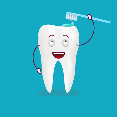 Bush The Tooth Is Fine Isolated On A Background. Vector Illustration. Healthcare Concept. Ilustração