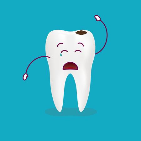 Dental Problem - Sad Decayed Teeth Isolated On A Background. Vector Illustration. Healthcare Concept. Ilustração