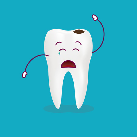 Dental Problem - Sad Decayed Teeth Isolated On A Background. Vector Illustration. Healthcare Concept. Illustration