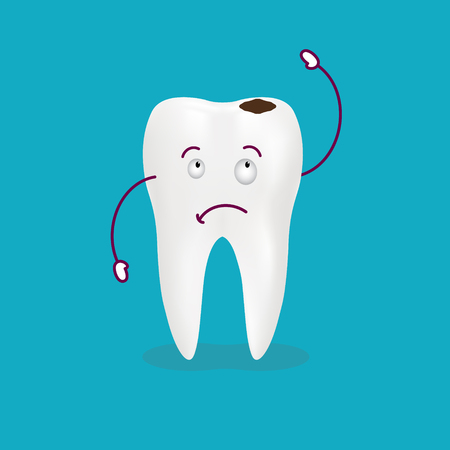 Cartoon Sick Tooth. Decay And Destroy Tooth. Cute Crying Tooth Isolated On A Background. Vector Illustration. Healthcare Concept.