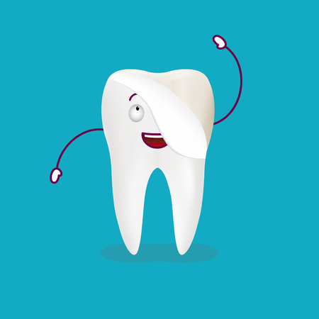 Cute Cartoon Tooth With Dental Veneer Isolated On A Background. Vector Illustration. Healthcare Concept.