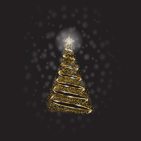Christmas Tree With Golden Dots And Snow On Transparent Background. Vector.