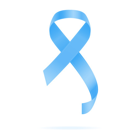 Realistic Blue Ribbon. World Prostate Cancer Day Concept. Vector Illustration. Men Healthcare Concept. Awareness Ribbon Isolated On A White Background. Vector Illustration. Healthcare Concept.