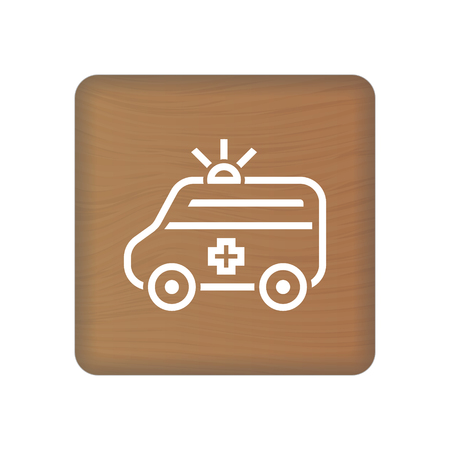 Ambulance Truck Icon Vector On Wooden Blocks Isolated On A White Background. Vector Illustration. Healthcare Concept.