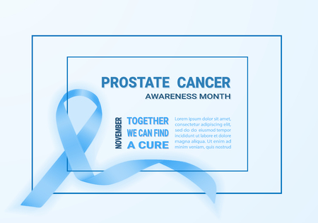 Realistic Blue Ribbon. Symbol Of Prostate Cancer Awareness Month In Nowember. Template For Poster Isolated On A Background. Vector Illustration. Healthcare Concept.