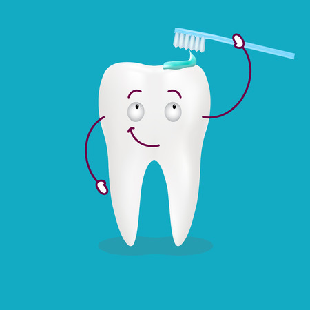 Cute Happy Cartoon Tooth With Its Smiling Toothbrush With Toothpaste On It Isolated On A Background. Vector Illustration. Healthcare Concept.