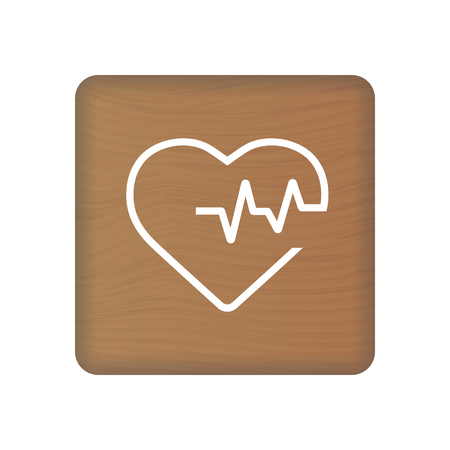 Heart Cardiogram Icon On Wooden Blocks Isolated On A White Background. Vector Illustration. Healthcare Concept.