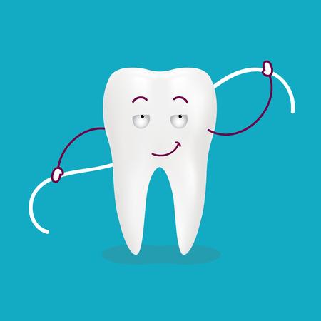 Cute Cartoon Tooth With Dental Floss Isolated On A Background. Vector Illustration. Healthcare Concept. Ilustração