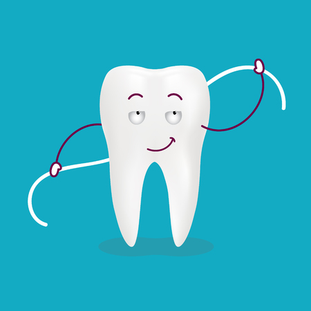 Cute Cartoon Tooth With Dental Floss Isolated On A Background. Vector Illustration. Healthcare Concept. Illustration