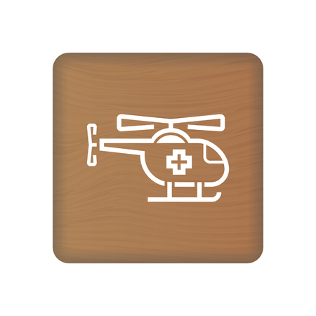 Air Medical Service Icon, Medical Helicopter Sign On Wooden Blocks Isolated On A White Background. Vector Illustration. Healthcare Concept.